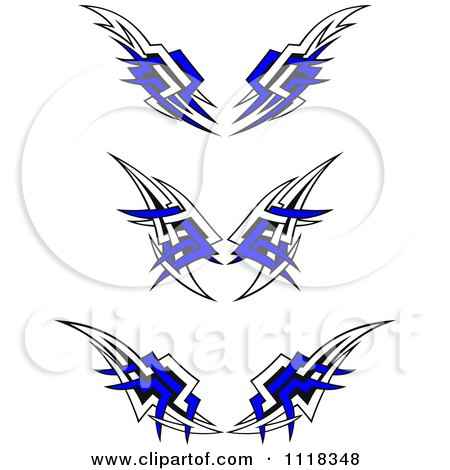 Clipart Of Tribal Wings With Blue - Royalty Free Vector Illustration by Vector Tradition SM