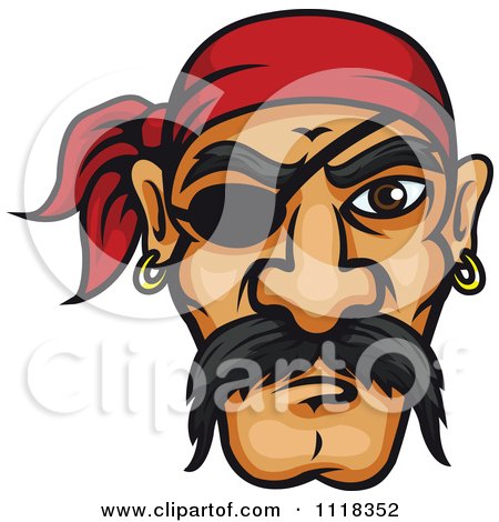 Cartoon Of A Pirate Face With A Mustache Bandana And Eye Patch - Royalty Free Vector Clipart by Vector Tradition SM