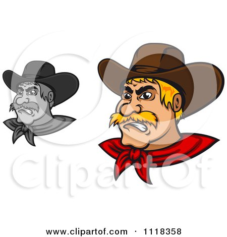 Cartoon Of Grayscale And Blond Angry Cowboys - Royalty Free Vector Clipart by Vector Tradition SM