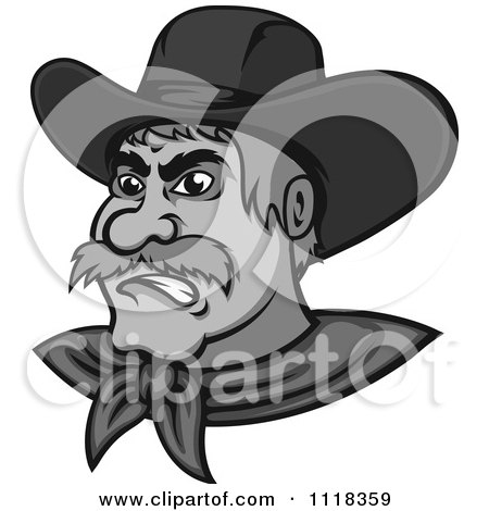 Cartoon Of A Grayscale Angry Cowboy - Royalty Free Vector Clipart by Vector Tradition SM