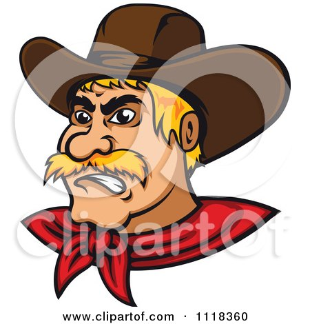 Cartoon Of A Blond Angry Cowboy - Royalty Free Vector Clipart by Vector Tradition SM