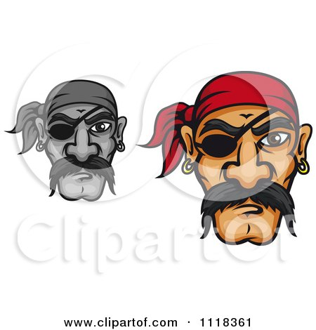 Cartoon Of Grayscale And Colored Pirate Faces With Mustaches Bandanas And Eye Patches - Royalty Free Vector Clipart by Vector Tradition SM