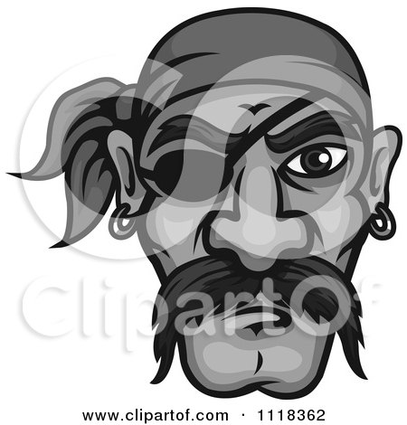 Cartoon Of A Grayscale Pirate Face With A Mustache Bandana And Eye Patch - Royalty Free Vector Clipart by Vector Tradition SM