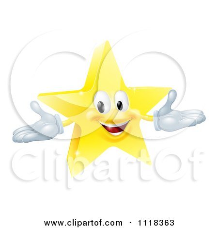 Clipart Of A 3d Star Mascot - Royalty Free Vector Illustration by AtStockIllustration