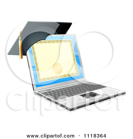 Clipart Of A 3d Diploma Or Degree On A Laptop Screen With A Graduation Cap - Royalty Free Vector Illustration by AtStockIllustration