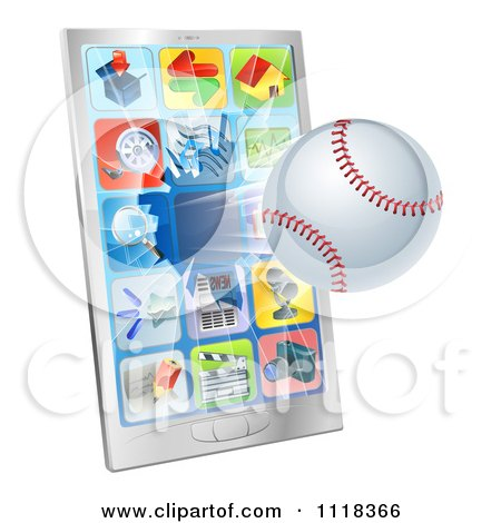 Clipart Of A 3d Baseball Flying Through And Breaking A Cell Phone Screen - Royalty Free Vector Illustration by AtStockIllustration