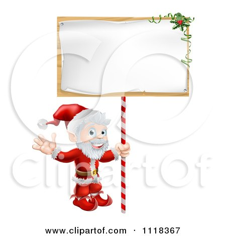 Clipart Of A Happy Santa Waving And Holding A Sign - Royalty Free Vector Illustration by AtStockIllustration