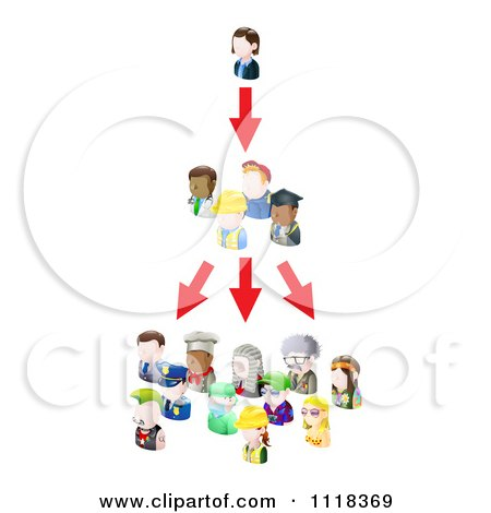 Clipart Of A Networking Social People Spreading An Idea - Royalty Free Vector Illustration by AtStockIllustration