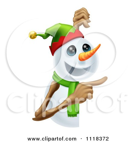 Clipart Of A Happy Christmas Snowman Pointing At A Sign - Royalty Free Vector Illustration by AtStockIllustration