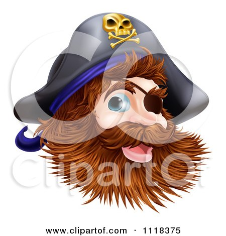 Clipart Of A Happy Pirate Captain With An Eye Patch And Beard - Royalty Free Vector Illustration by AtStockIllustration