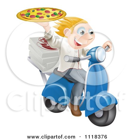 Clipart Of A Pizza Delivery Chef Holding Up A Pie On A Fast Scooter - Royalty Free Vector Illustration by AtStockIllustration