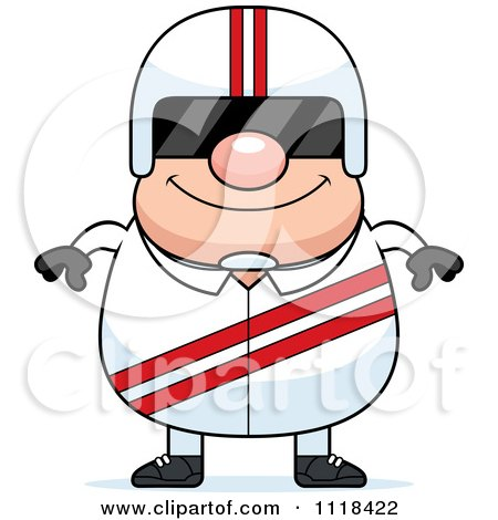 Cartoon Of A Happy Race Car Driver Wearing A Visor - Royalty Free Vector Clipart by Cory Thoman