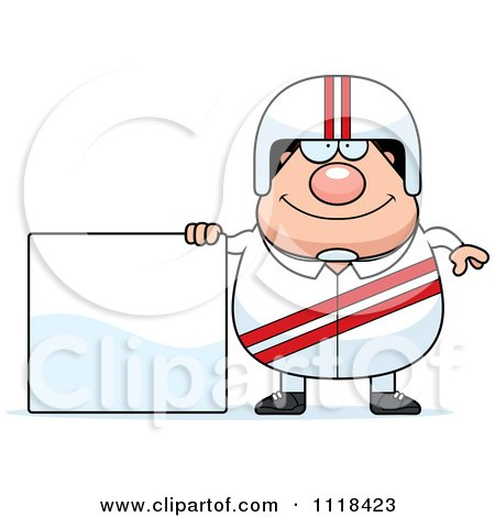 Cartoon Of A Happy Race Car Driver With A Sign - Royalty Free Vector Clipart by Cory Thoman