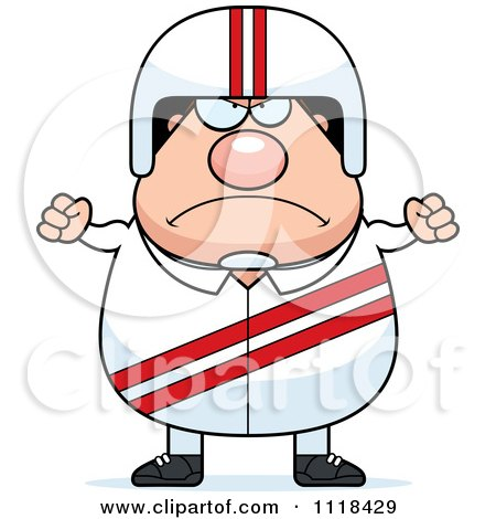 Cartoon Of An Angry Race Car Driver - Royalty Free Vector Clipart by Cory Thoman