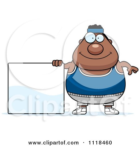 Cartoon Of A Plump Black Gym Man With A Sign - Royalty Free Vector Clipart by Cory Thoman