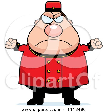 Cartoon Of An Angry Bellhop Worker - Royalty Free Vector Clipart by Cory Thoman