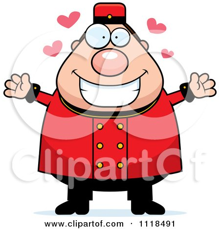 Cartoon Of An Amorous Bellhop Worker - Royalty Free Vector Clipart by Cory Thoman