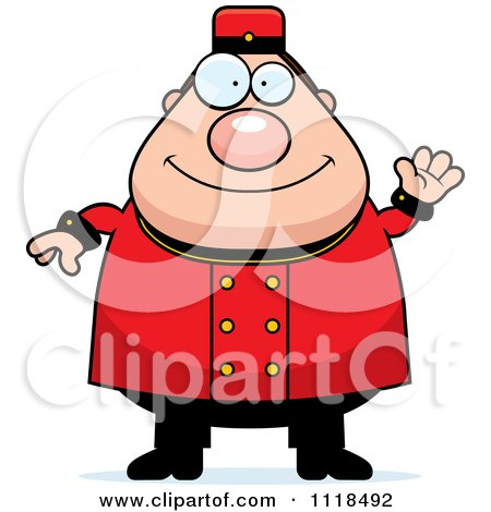 Cartoon Of A Friendly Waving Bellhop Worker - Royalty Free Vector Clipart by Cory Thoman