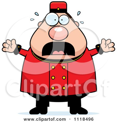 Cartoon Of A Frightened Bellhop Worker - Royalty Free Vector Clipart by Cory Thoman