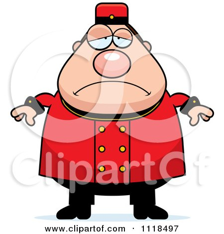 Cartoon Of A Depressed Bellhop Worker - Royalty Free Vector Clipart by Cory Thoman