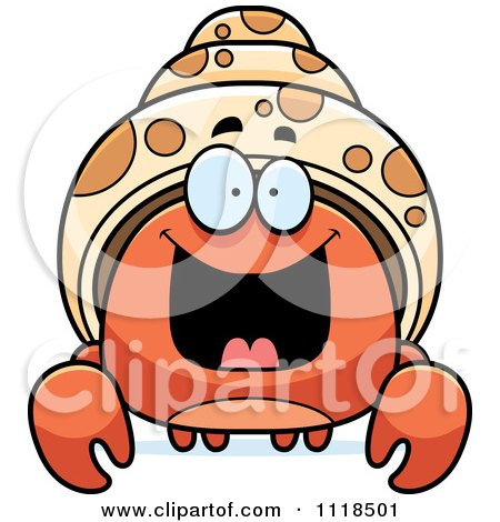 Cartoon Of An Excited Hermit Crab - Royalty Free Vector Clipart by Cory Thoman
