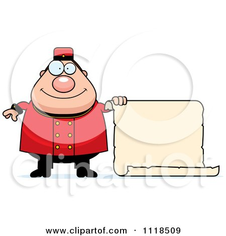 Cartoon Of A Happy Bellhop Worker Holding A Sign - Royalty Free Vector Clipart by Cory Thoman
