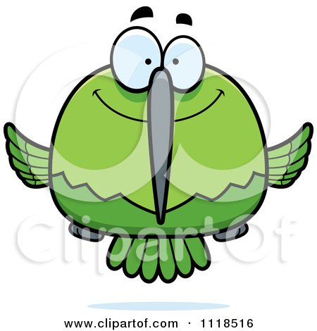 Cartoon Of A Happy Green Hummingbird Royalty Free Vector Clipart