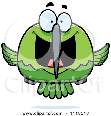 Cartoon Of An Excited Green Hummingbird - Royalty Free Vector Clipart by Cory Thoman