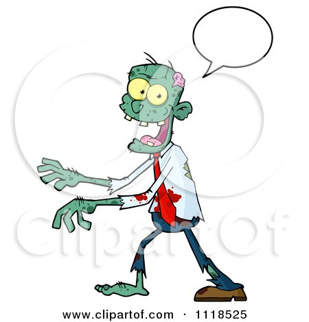 Cartoon Of A Happy Green Zombie With A Speech Balloon 2 - Royalty Free Vector Clipart by Hit Toon