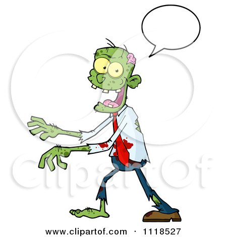 Cartoon Of A Happy Green Zombie With A Speech Balloon - Royalty Free Vector Clipart by Hit Toon