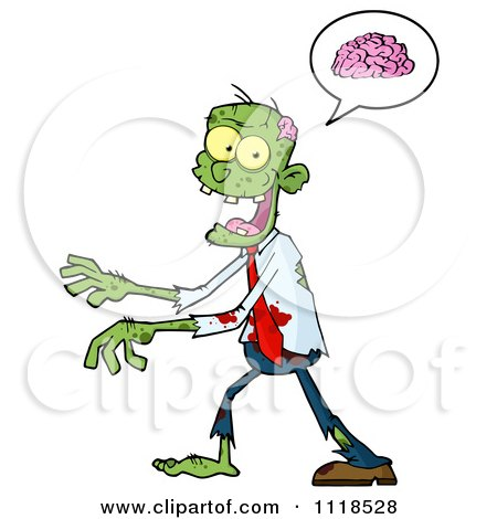 Cartoon Of A Happy Green Zombie With A Brain In A Speech Balloon - Royalty Free Vector Clipart by Hit Toon