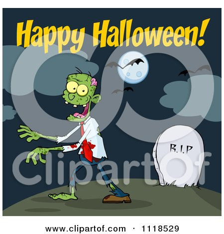 Cartoon Of Happy Halloween Text Over A Zombie Walking Through A Cemetery - Royalty Free Vector Clipart by Hit Toon