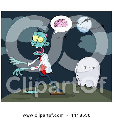 Cartoon Of A Zombie Walking Through A Cemetery 2 - Royalty Free Vector Clipart by Hit Toon