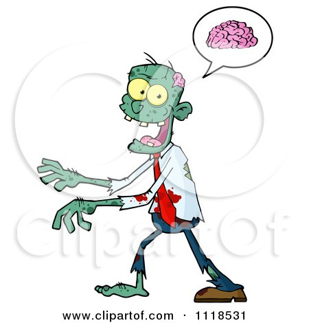 Cartoon Of A Bloody Green Zombie Thinking About Brains - Royalty Free Vector Clipart by Hit Toon