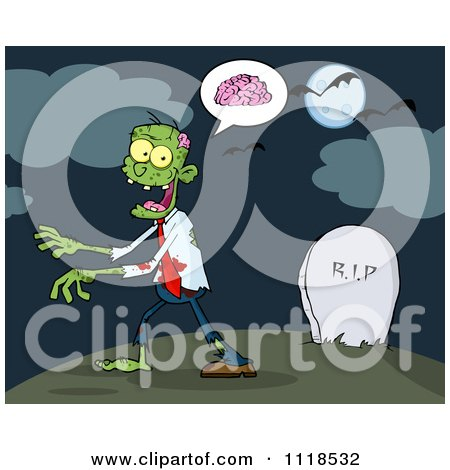 Cartoon Of A Zombie Walking Through A Cemetery 1 - Royalty Free Vector Clipart by Hit Toon