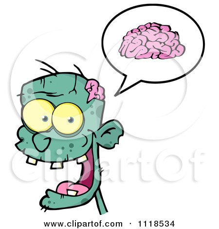 Cartoon Of A Happy Green Zombie Head With A Brain In A Speech Balloon 2 - Royalty Free Vector Clipart by Hit Toon