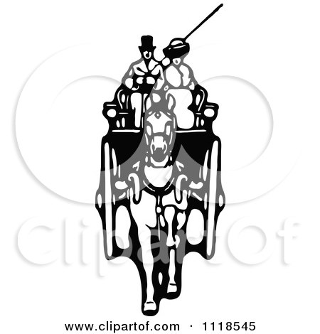 Clipart Of A Retro Vintage Black And White Horse Drawn Carriage And Passenger - Royalty Free Vector Illustration by Prawny Vintage