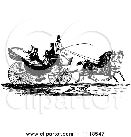 Clipart Of A Retro Vintage Black And White Horse Drawn Carriage And Passengers 3 - Royalty Free Vector Illustration by Prawny Vintage