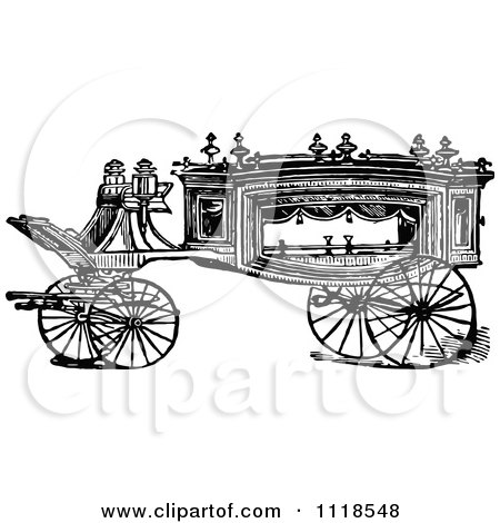 Clipart Of A Retro Vintage Black And White Carriage 1 - Royalty Free Vector Illustration by Prawny Vintage