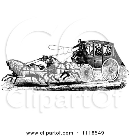 Clipart Of A Retro Vintage Black And White Horse Drawn Carriage And Passengers 1 - Royalty Free Vector Illustration by Prawny Vintage