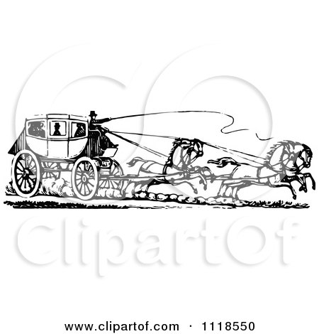 Clipart Of A Retro Vintage Black And White Horse Drawn Carriage And Passengers 2 - Royalty Free Vector Illustration by Prawny Vintage