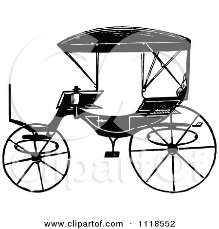 Clipart Of A Retro Vintage Black And White Carriage 2 - Royalty Free Vector Illustration by Prawny Vintage