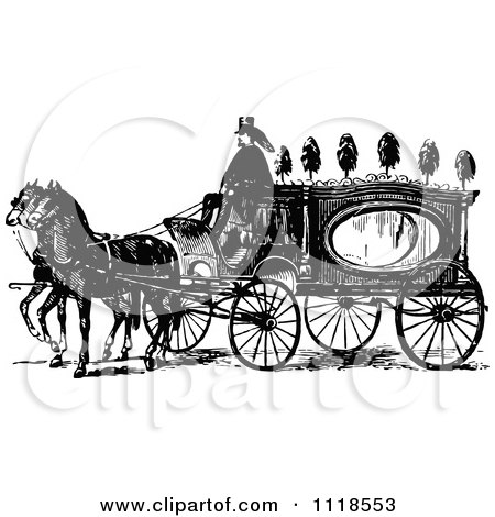 Clipart Of A Retro Vintage Black And White Horse Drawn Coach Carriage - Royalty Free Vector Illustration by Prawny Vintage