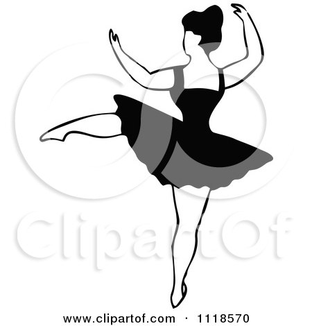 Clipart Of A Retro Vintage Black And White Dancing Ballerina 2 - Royalty Free Vector Illustration by Prawny Vintage
