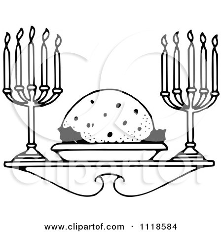 Clipart Of A Retro Vintage Black And White Christmas Plum Pudding Dessert And Candles - Royalty Free Vector Illustration by Prawny Vintage