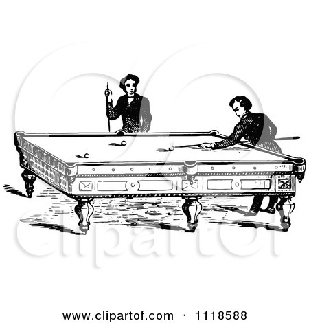 Clipart Of Retro Vintage Black And White Men Playing A Game Of Billiards Pool - Royalty Free Vector Illustration by Prawny Vintage