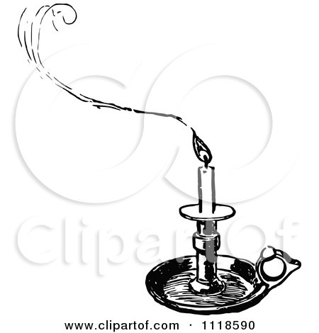 Clipart Of A Retro Vintage Black And White Tray Candle Holder And Smoke - Royalty Free Vector Illustration by Prawny Vintage