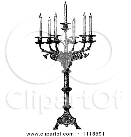Clipart Of A Retro Vintage Black And White Ornate Candelabra With Seven Tapers - Royalty Free Vector Illustration by Prawny Vintage