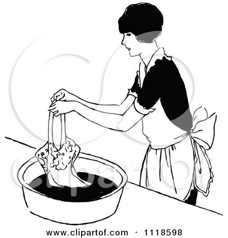 Clipart Of A Retro Vintage Black And White Woman Hand Washing Clothes - Royalty Free Vector Illustration by Prawny Vintage