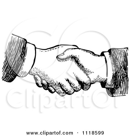 Clipart Of A Retro Vintage Black And White Hand Shake - Royalty Free Vector Illustration by Prawny Vintage